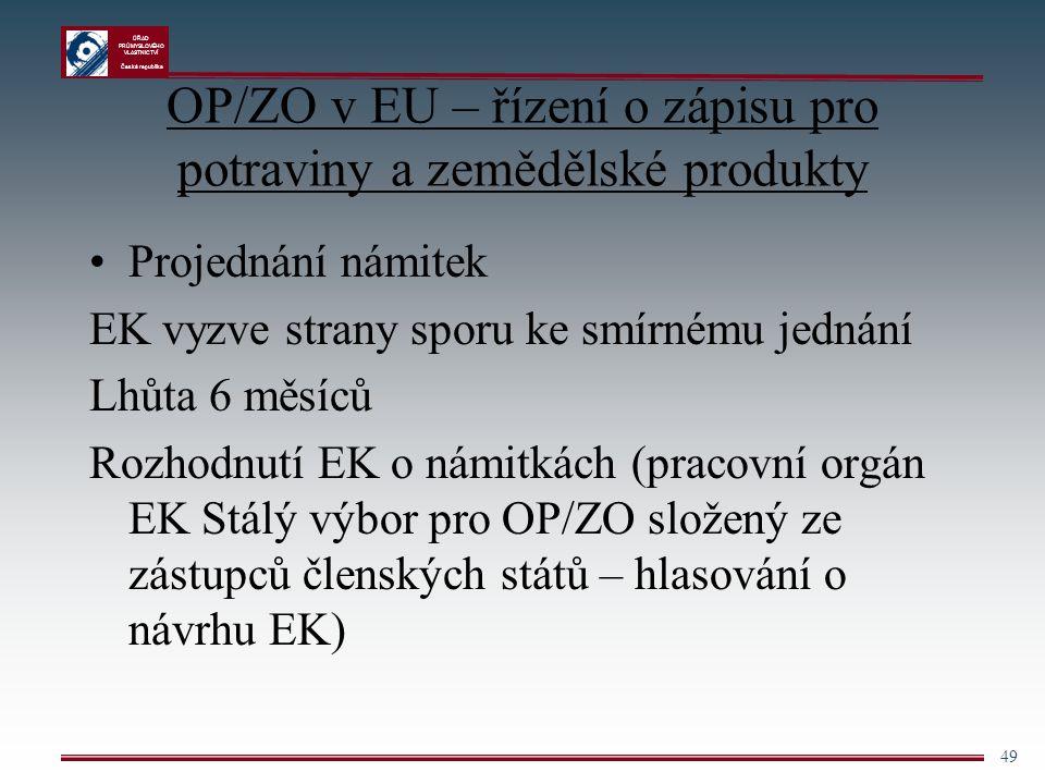 ÚŘAD PRŮMYSLOVÉHO VLASTNICTVÍ Česká republika 49 OP/ZO v EU – řízení o zápisu pro potraviny a zemědělské produkty Projednání námitek EK vyzve strany s