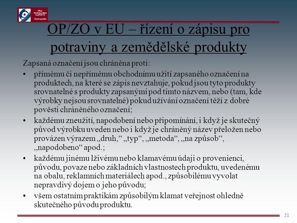 ÚŘAD PRŮMYSLOVÉHO VLASTNICTVÍ Česká republika 51 OP/ZO v EU – řízení o zápisu pro potraviny a zemědělské produkty Zapsaná označení jsou chráněna proti