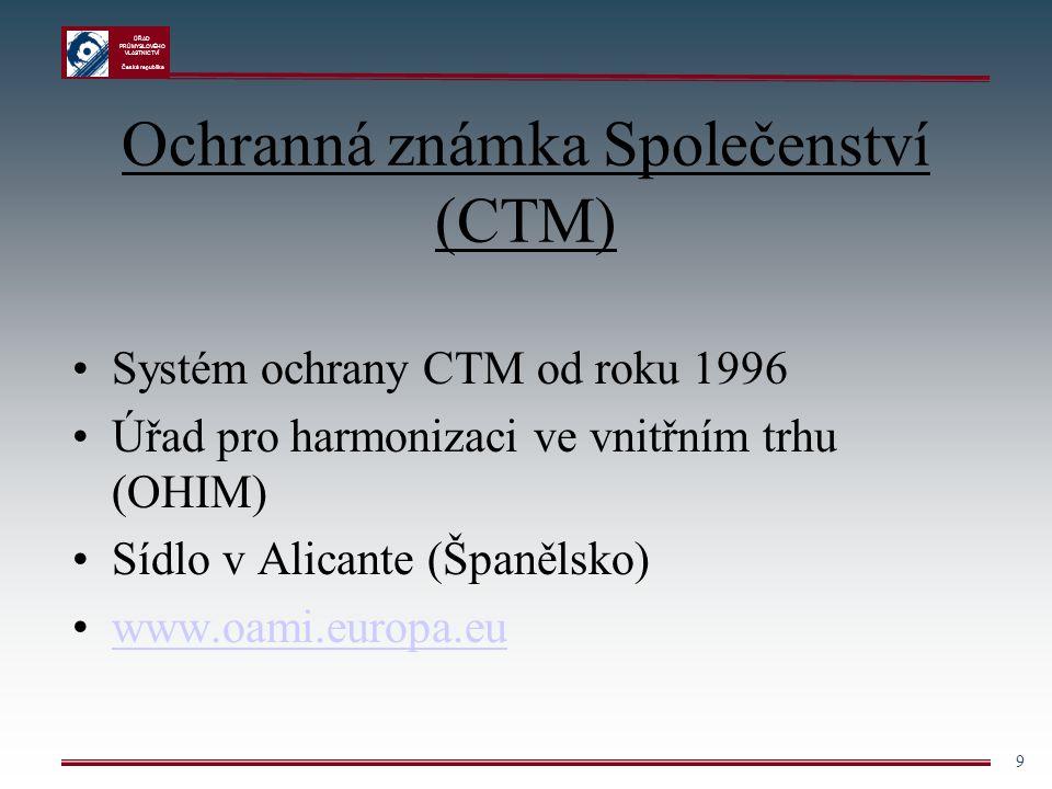 ÚŘAD PRŮMYSLOVÉHO VLASTNICTVÍ Česká republika 9 Ochranná známka Společenství (CTM) Systém ochrany CTM od roku 1996 Úřad pro harmonizaci ve vnitřním tr