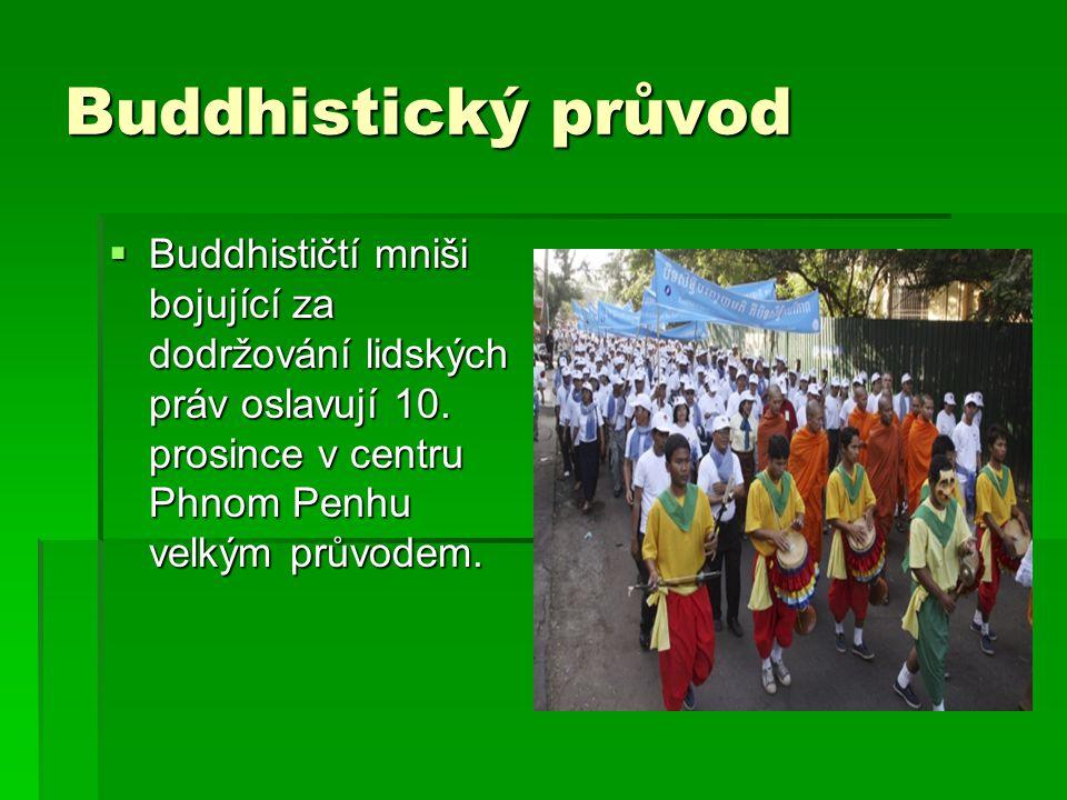 Buddhistický průvod  Buddhističtí mniši bojující za dodržování lidských práv oslavují 10. prosince v centru Phnom Penhu velkým průvodem.