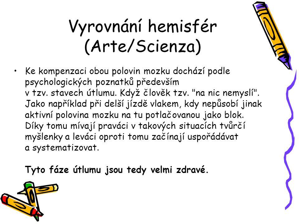 Vyrovnání hemisfér (Arte/Scienza) Ke kompenzaci obou polovin mozku dochází podle psychologických poznatků především v tzv. stavech útlumu. Když člověk