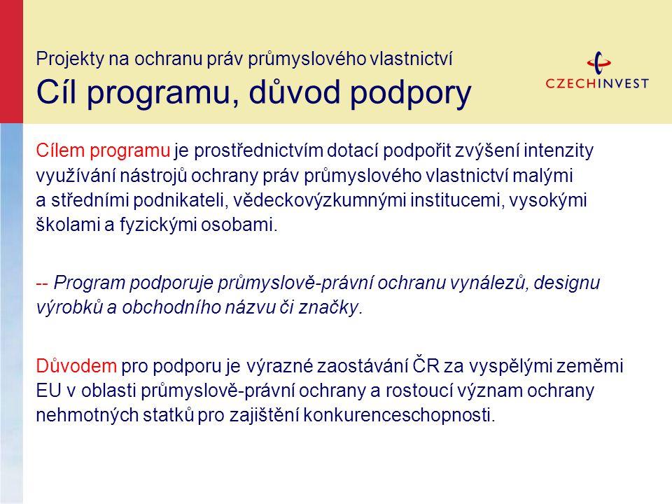 Projekty na ochranu práv průmyslového vlastnictví Podporované aktivity, alokace a) Podávání přihlášek vynálezů v zahraničí a v ČR b) Zajištění ochrany průmyslového vlastnictví ve formě: -- patentů v ČR a zahraničí -- užitných vzorů (pouze v případě, že byla současně s přihláškou užitného vzoru podána přihláška vynálezu) v ČR a zahraničí -- průmyslových vzorů v zahraničí -- a ochranných známek v zahraničí Alokace pro projekty na ochranu práv průmyslového vlastnictví je 350 mil.