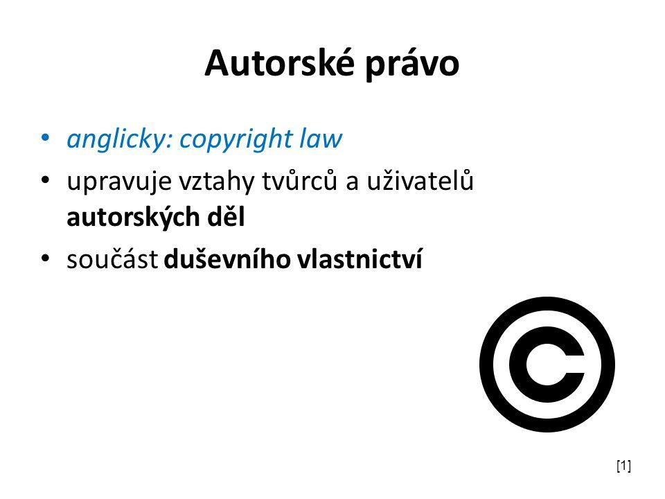 Autorské právo anglicky: copyright law upravuje vztahy tvůrců a uživatelů autorských děl součást duševního vlastnictví [1]