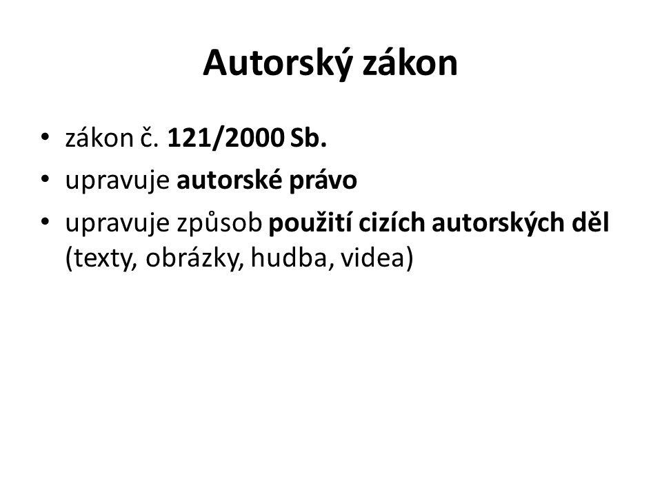Autorský zákon zákon č. 121/2000 Sb.