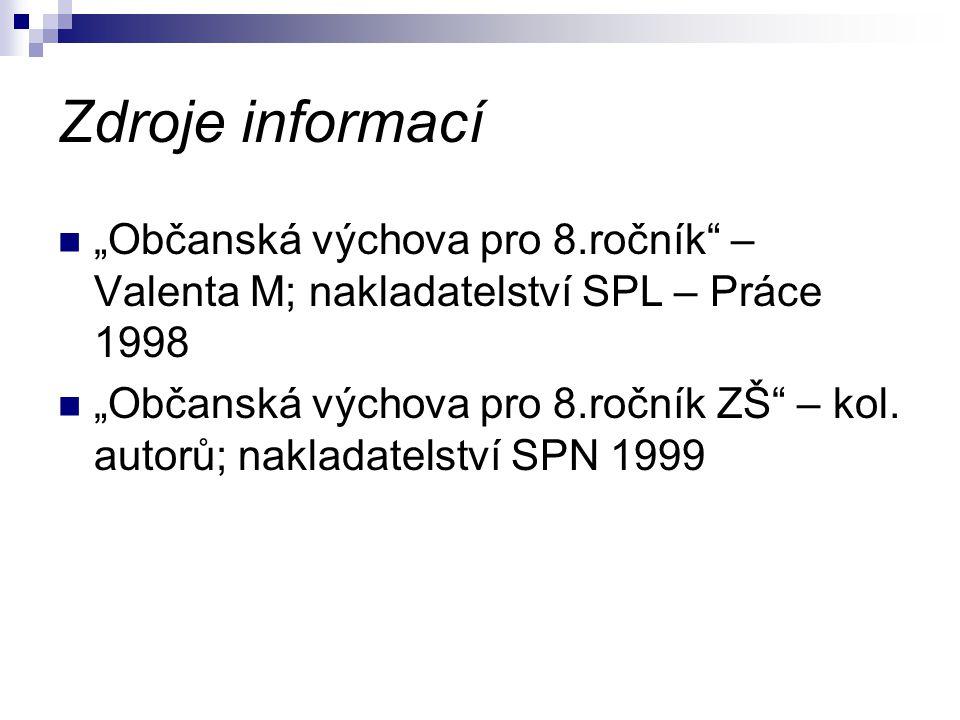 """Zdroje informací """"Občanská výchova pro 8.ročník – Valenta M; nakladatelství SPL – Práce 1998 """"Občanská výchova pro 8.ročník ZŠ – kol."""