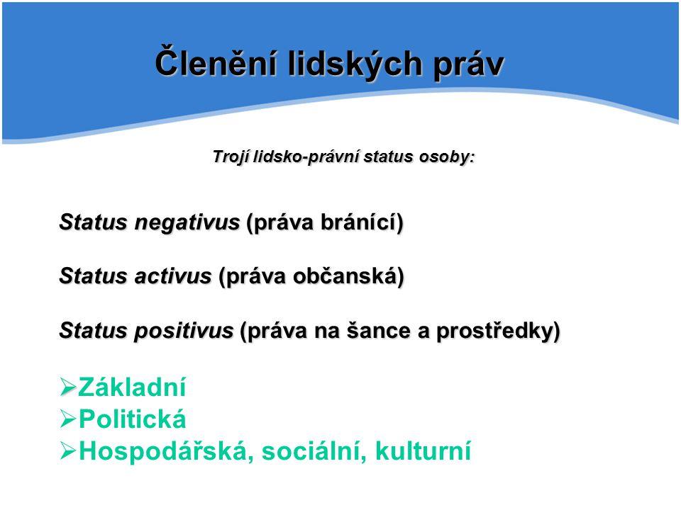 Členění lidských práv Trojí lidsko-právní status osoby: Status negativus (práva bránící) Status activus (práva občanská) Status positivus (práva na ša