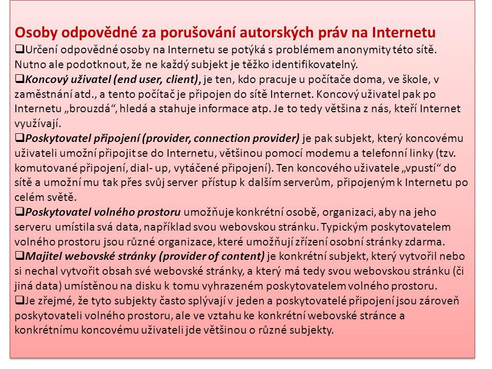 Osoby odpovědné za porušování autorských práv na Internetu  Určení odpovědné osoby na Internetu se potýká s problémem anonymity této sítě. Nutno ale