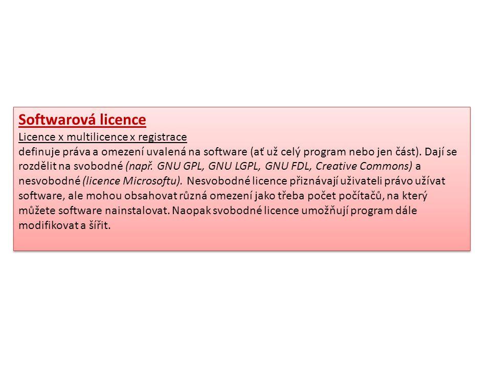 Softwarová licence Licence x multilicence x registrace definuje práva a omezení uvalená na software (ať už celý program nebo jen část). Dají se rozděl