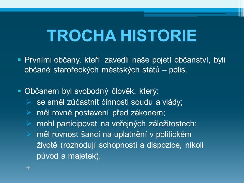 TROCHA HISTORIE  Prvními občany, kteří zavedli naše pojetí občanství, byli občané starořeckých městských států – polis.  Občanem byl svobodný člověk