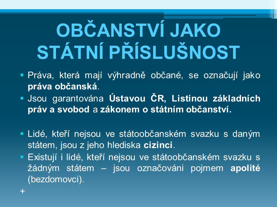 OBČANSTVÍ JAKO STÁTNÍ PŘÍSLUŠNOST  Práva, která mají výhradně občané, se označují jako práva občanská.  Jsou garantována Ústavou ČR, Listinou základ