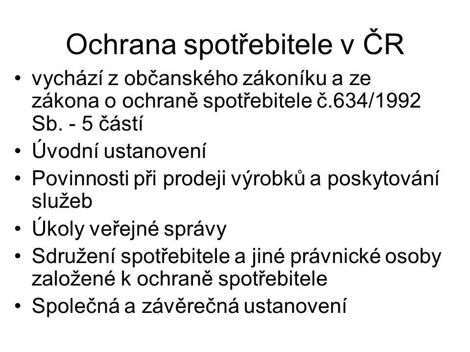Ochrana spotřebitele v ČR vychází z občanského zákoníku a ze zákona o ochraně spotřebitele č.634/1992 Sb.