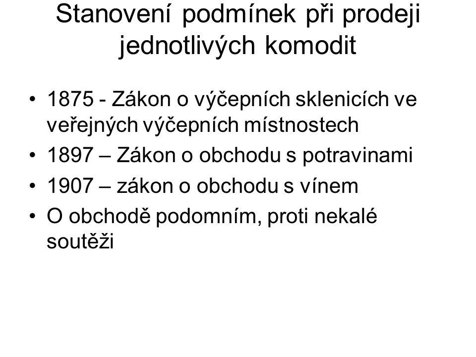 Stanovení podmínek při prodeji jednotlivých komodit 1875 - Zákon o výčepních sklenicích ve veřejných výčepních místnostech 1897 – Zákon o obchodu s potravinami 1907 – zákon o obchodu s vínem O obchodě podomním, proti nekalé soutěži