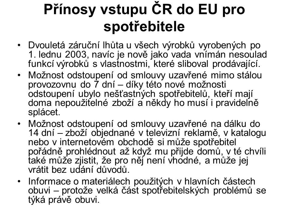 Přínosy vstupu ČR do EU pro spotřebitele Dvouletá záruční lhůta u všech výrobků vyrobených po 1.