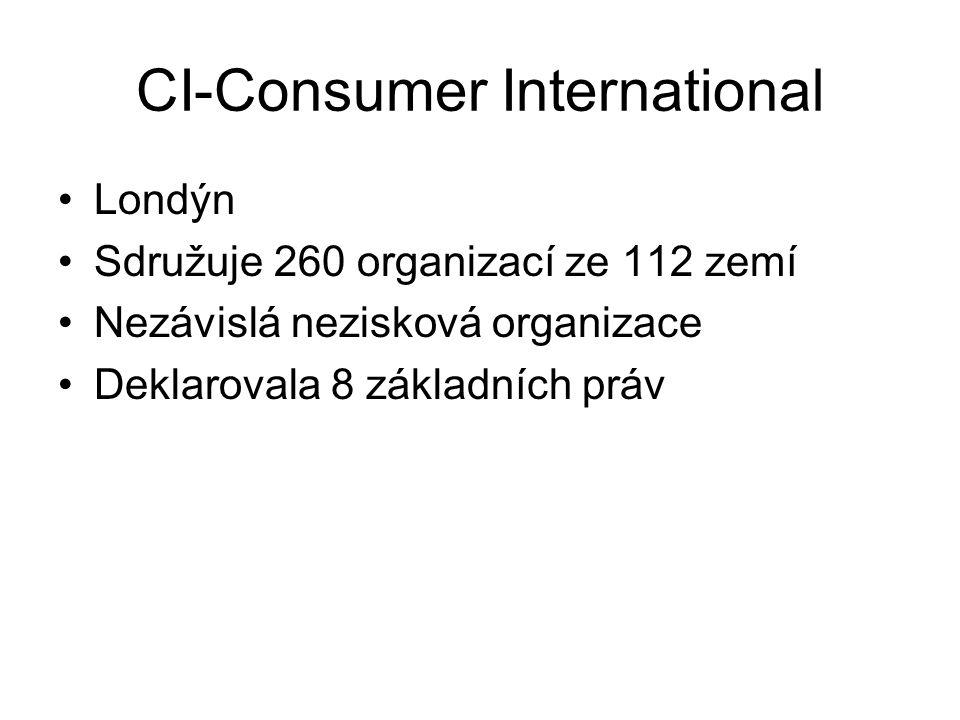 CI-Consumer International Londýn Sdružuje 260 organizací ze 112 zemí Nezávislá nezisková organizace Deklarovala 8 základních práv