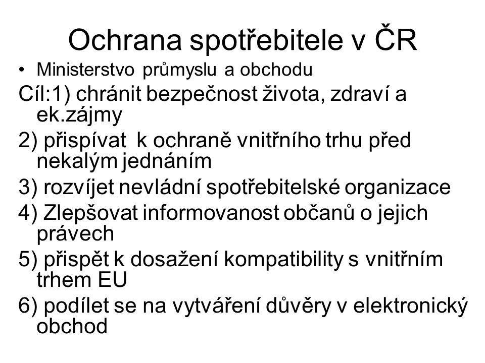 Ochrana spotřebitele v ČR Ministerstvo průmyslu a obchodu Cíl:1) chránit bezpečnost života, zdraví a ek.zájmy 2) přispívat k ochraně vnitřního trhu před nekalým jednáním 3) rozvíjet nevládní spotřebitelské organizace 4) Zlepšovat informovanost občanů o jejich právech 5) přispět k dosažení kompatibility s vnitřním trhem EU 6) podílet se na vytváření důvěry v elektronický obchod