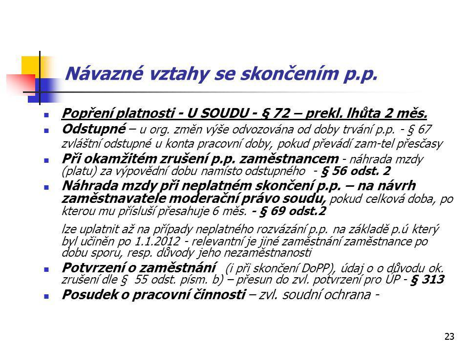 23 Návazné vztahy se skončením p.p. Popření platnosti - U SOUDU - § 72 – prekl.