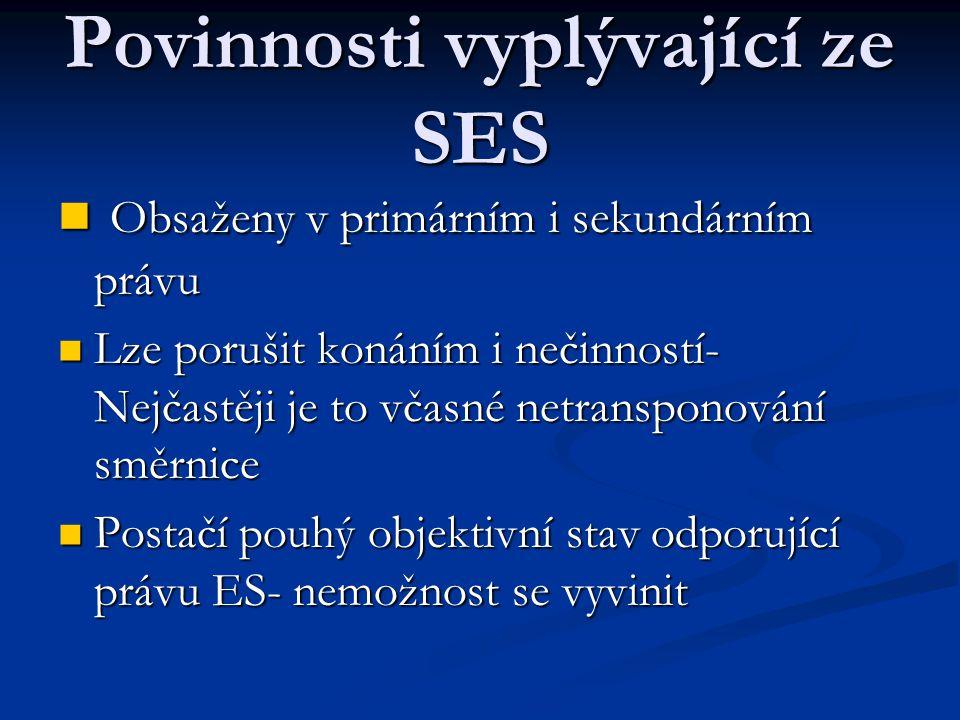 Povinnosti vyplývající ze SES Obsaženy v primárním i sekundárním právu Obsaženy v primárním i sekundárním právu Lze porušit konáním i nečinností- Nejčastěji je to včasné netransponování směrnice Lze porušit konáním i nečinností- Nejčastěji je to včasné netransponování směrnice Postačí pouhý objektivní stav odporující právu ES- nemožnost se vyvinit Postačí pouhý objektivní stav odporující právu ES- nemožnost se vyvinit