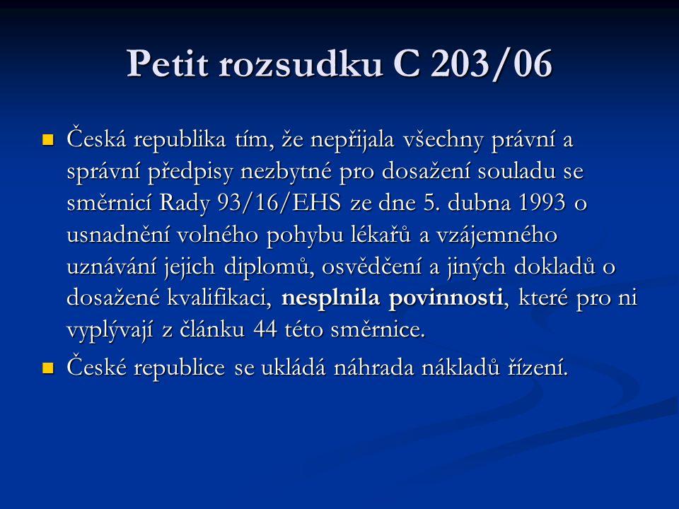 Petit rozsudku C 203/06 Česká republika tím, že nepřijala všechny právní a správní předpisy nezbytné pro dosažení souladu se směrnicí Rady 93/16/EHS ze dne 5.