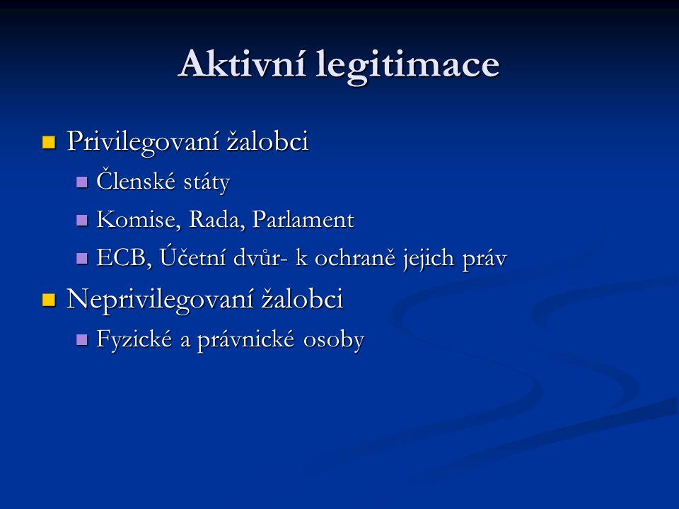 Aktivní legitimace Privilegovaní žalobci Privilegovaní žalobci Členské státy Členské státy Komise, Rada, Parlament Komise, Rada, Parlament ECB, Účetní dvůr- k ochraně jejich práv ECB, Účetní dvůr- k ochraně jejich práv Neprivilegovaní žalobci Neprivilegovaní žalobci Fyzické a právnické osoby Fyzické a právnické osoby