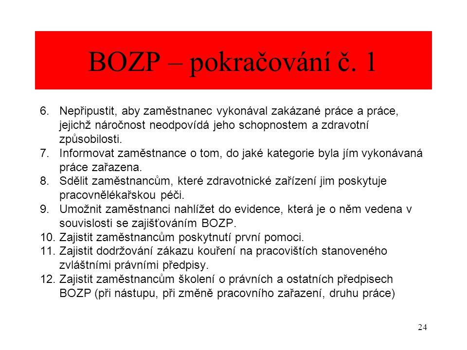 24 BOZP – pokračování č. 1 6. Nepřipustit, aby zaměstnanec vykonával zakázané práce a práce, jejichž náročnost neodpovídá jeho schopnostem a zdravotní