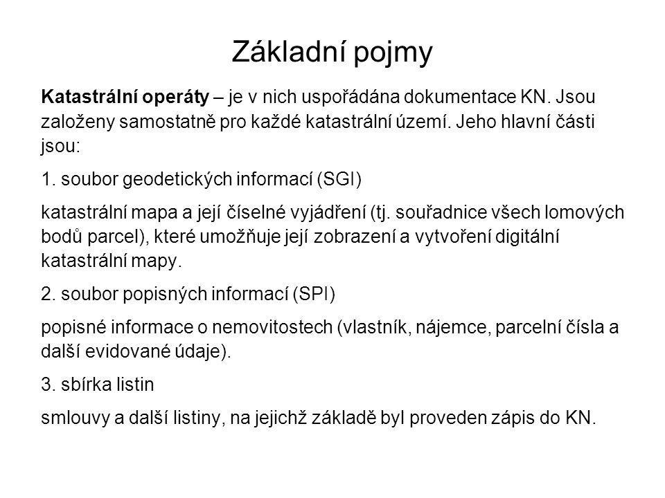 Základní pojmy Katastrální operáty – je v nich uspořádána dokumentace KN.