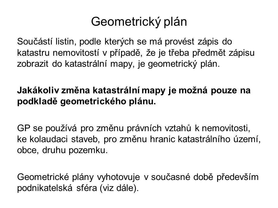 Geometrický plán Součástí listin, podle kterých se má provést zápis do katastru nemovitostí v případě, že je třeba předmět zápisu zobrazit do katastrální mapy, je geometrický plán.
