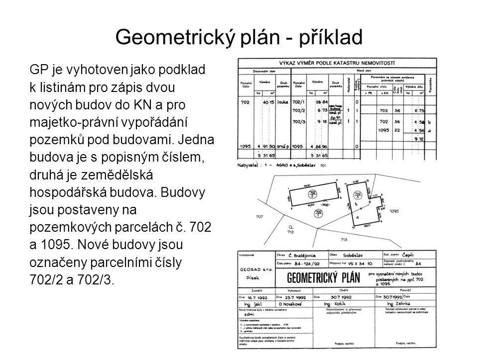 Geometrický plán - příklad GP je vyhotoven jako podklad k listinám pro zápis dvou nových budov do KN a pro majetko-právní vypořádání pozemků pod budovami.