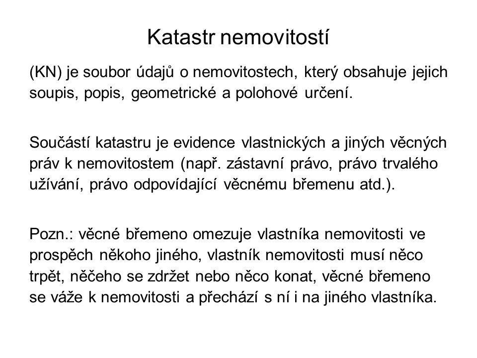 Zápisy vlastnických a jiných věcných práv do KN 1.