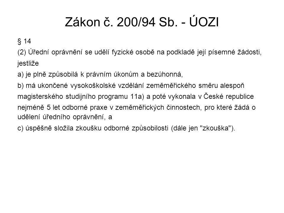 Zákon č. 200/94 Sb. - ÚOZI § 14 (2) Úřední oprávnění se udělí fyzické osobě na podkladě její písemné žádosti, jestliže a) je plně způsobilá k právním