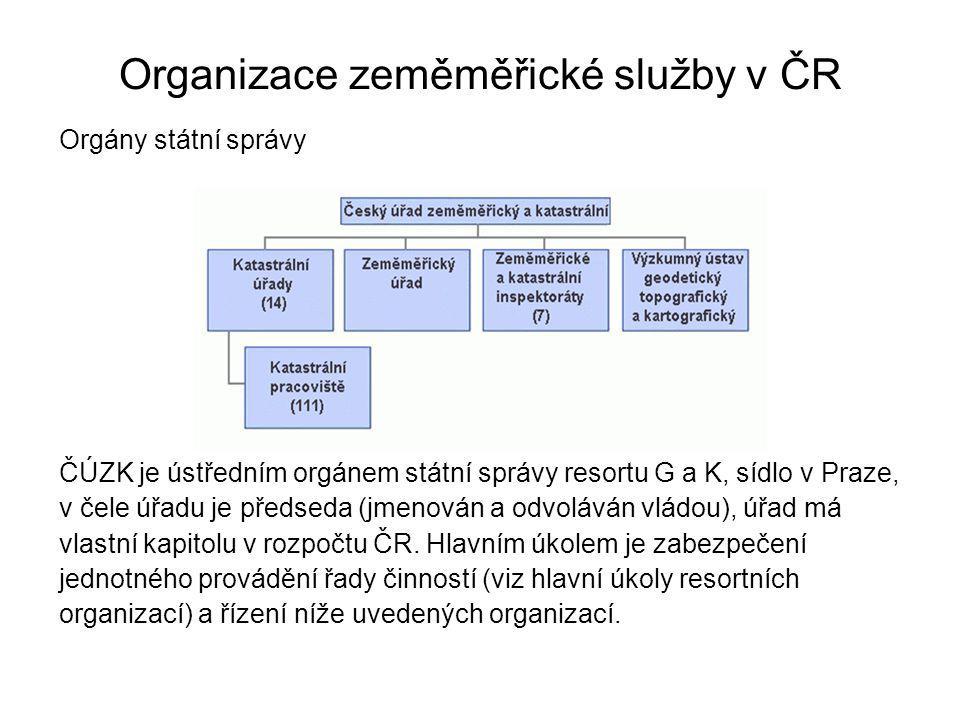 Organizace zeměměřické služby v ČR Orgány státní správy ČÚZK je ústředním orgánem státní správy resortu G a K, sídlo v Praze, v čele úřadu je předseda (jmenován a odvoláván vládou), úřad má vlastní kapitolu v rozpočtu ČR.