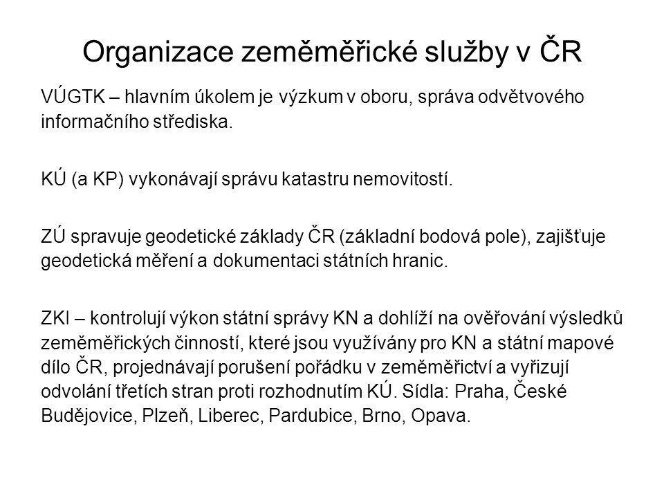 Organizace zeměměřické služby v ČR VÚGTK – hlavním úkolem je výzkum v oboru, správa odvětvového informačního střediska. KÚ (a KP) vykonávají správu ka
