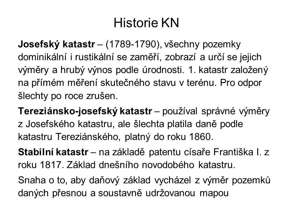 Historie KN Josefský katastr – (1789-1790), všechny pozemky dominikální i rustikální se zaměří, zobrazí a určí se jejich výměry a hrubý výnos podle úr