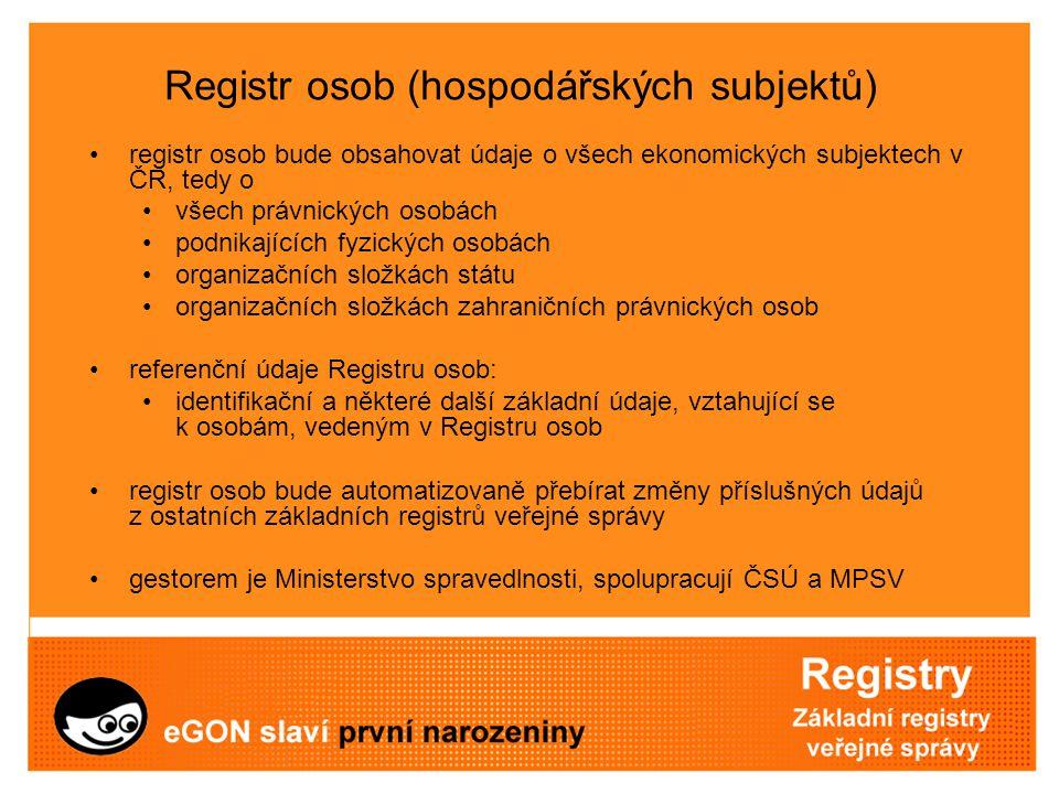 Registr osob (hospodářských subjektů) registr osob bude obsahovat údaje o všech ekonomických subjektech v ČR, tedy o všech právnických osobách podnika