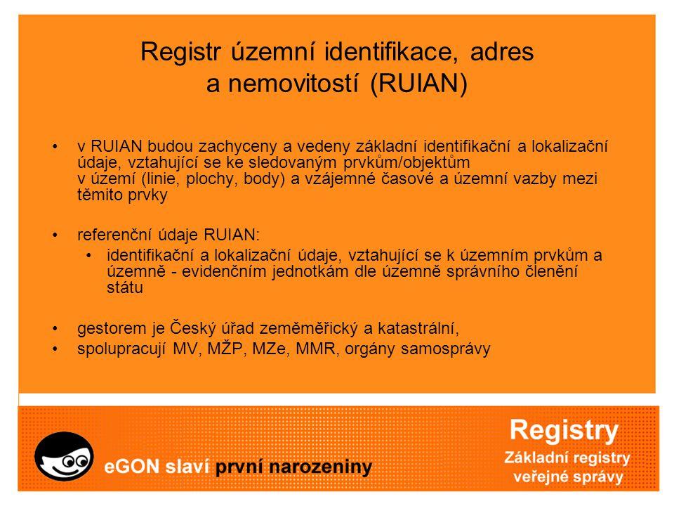 Registr územní identifikace, adres a nemovitostí (RUIAN) v RUIAN budou zachyceny a vedeny základní identifikační a lokalizační údaje, vztahující se ke
