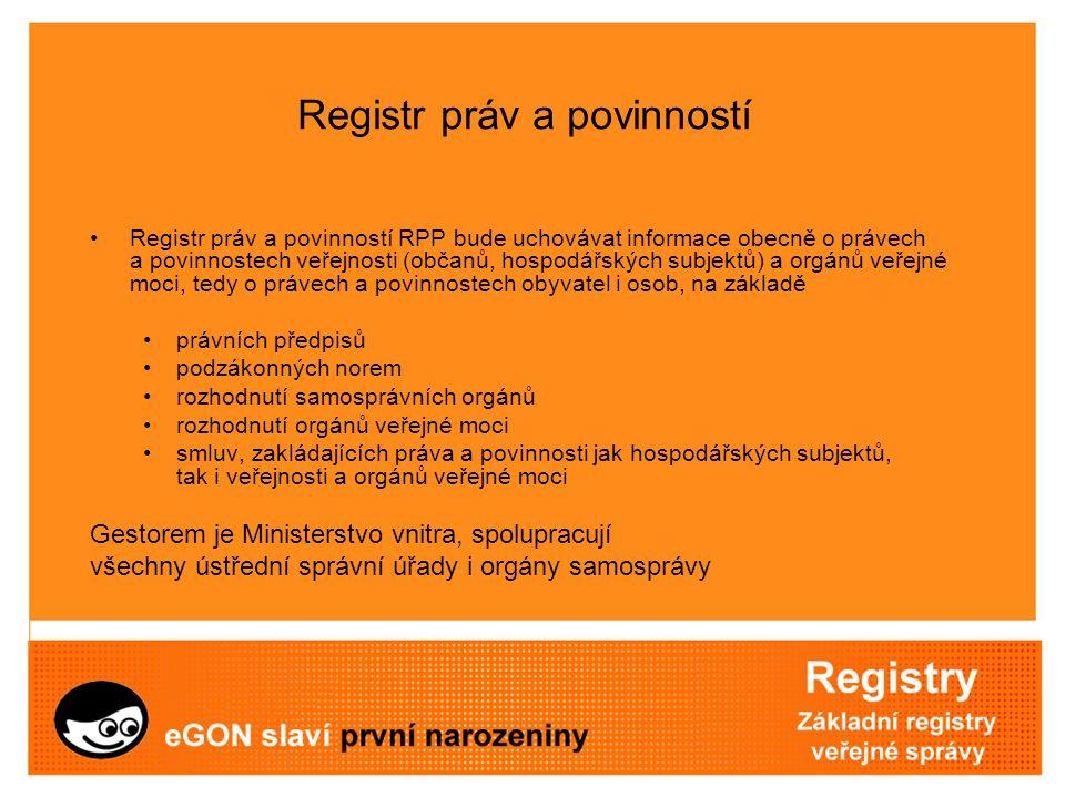 Registr práv a povinností Registr práv a povinností RPP bude uchovávat informace obecně o právech a povinnostech veřejnosti (občanů, hospodářských sub