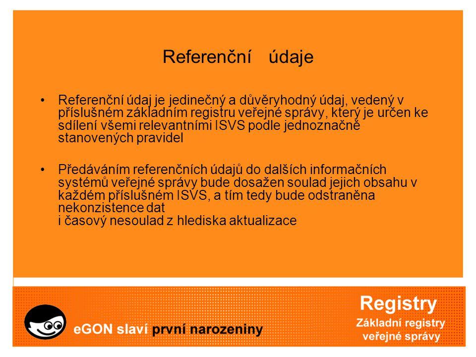 Referenční údaje Referenční údaj je jedinečný a důvěryhodný údaj, vedený v příslušném základním registru veřejné správy, který je určen ke sdílení vše