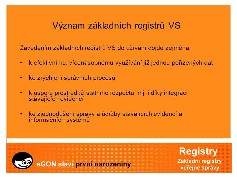 Význam základních registrů VS Zavedením základních registrů VS do užívání dojde zejména k efektivnímu, vícenásobnému využívání již jednou pořízených d