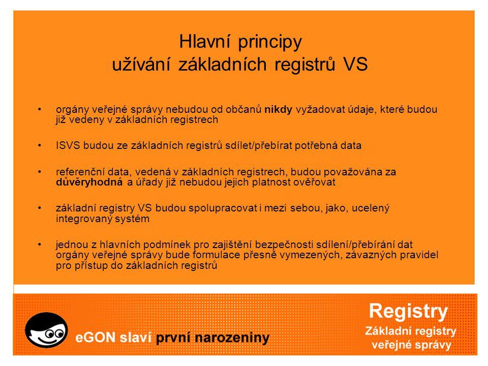 Hlavní principy užívání základních registrů VS orgány veřejné správy nebudou od občanů nikdy vyžadovat údaje, které budou již vedeny v základních regi