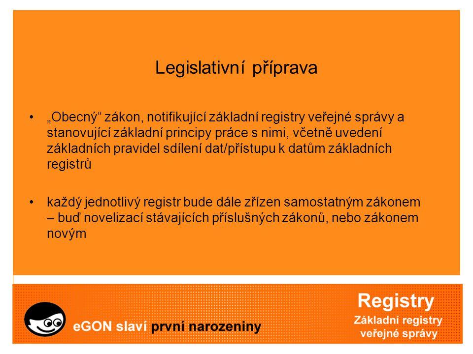 """Legislativní příprava """"Obecný"""" zákon, notifikující základní registry veřejné správy a stanovující základní principy práce s nimi, včetně uvedení zákla"""