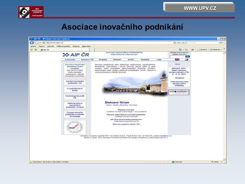 Asociace inovačního podnikání WWW.UPV.CZ ÚŘAD PRŮMYSLOVÉHO VLASTNICTVÍ Česká republika