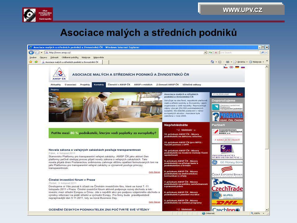 Asociace malých a středních podniků WWW.UPV.CZ ÚŘAD PRŮMYSLOVÉHO VLASTNICTVÍ Česká republika