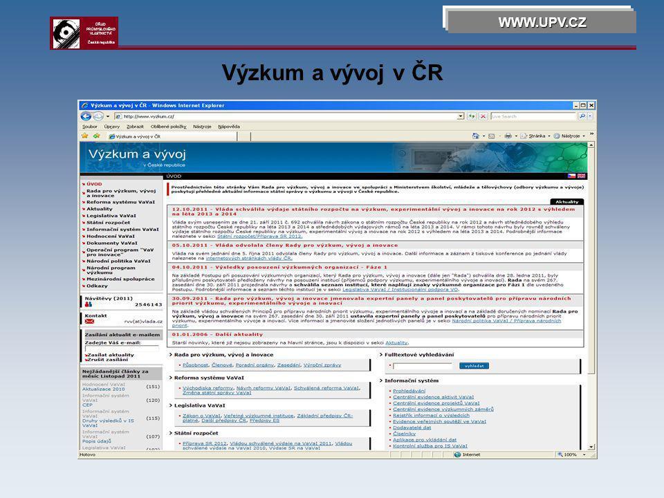 Technologické centrum AV ČR WWW.UPV.CZ ÚŘAD PRŮMYSLOVÉHO VLASTNICTVÍ Česká republika
