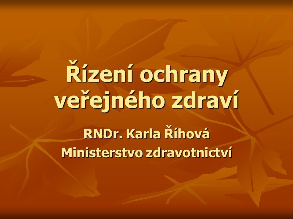 Řízení ochrany veřejného zdraví RNDr. Karla Říhová Ministerstvo zdravotnictví