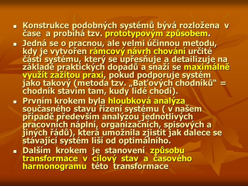 Konstrukce podobných systémů bývá rozložena v čase a probíhá tzv. prototypovým způsobem. Konstrukce podobných systémů bývá rozložena v čase a probíhá