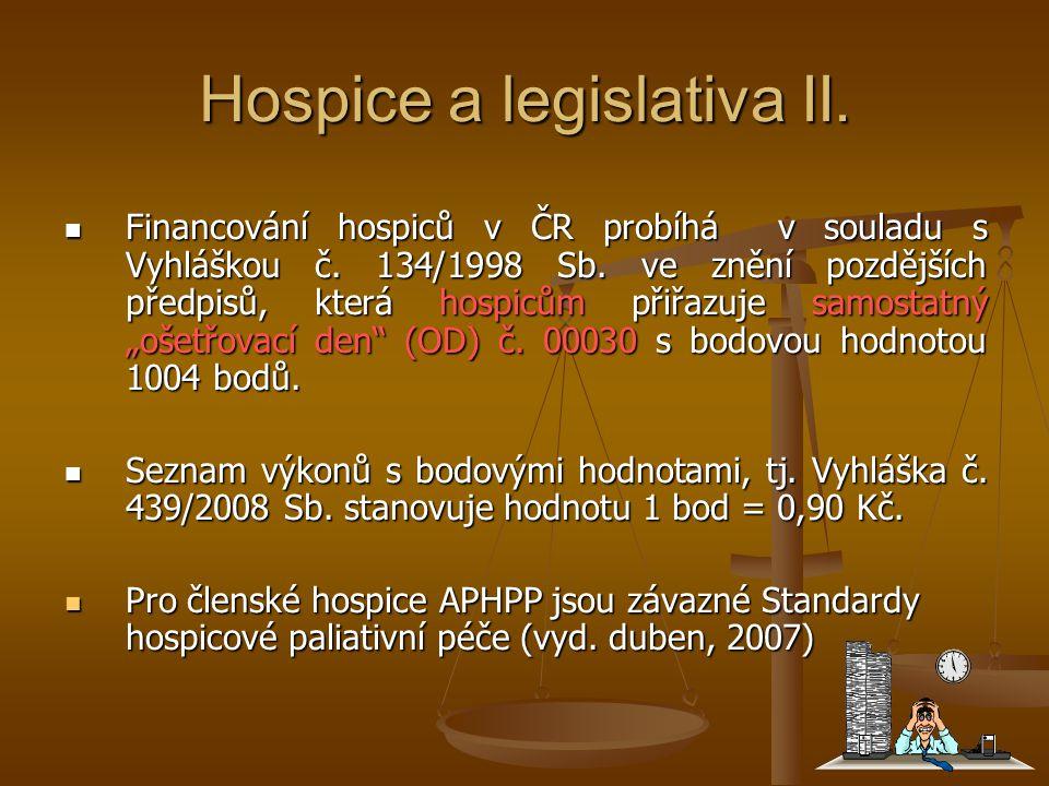 Hospice a legislativa II. Financování hospiců v ČR probíhá v souladu s Vyhláškou č. 134/1998 Sb. ve znění pozdějších předpisů, která hospicům přiřazuj