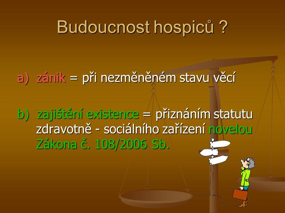 Budoucnost hospiců ? a) zánik = při nezměněném stavu věcí b) zajištění existence = přiznáním statutu zdravotně - sociálního zařízení novelou Zákona č.