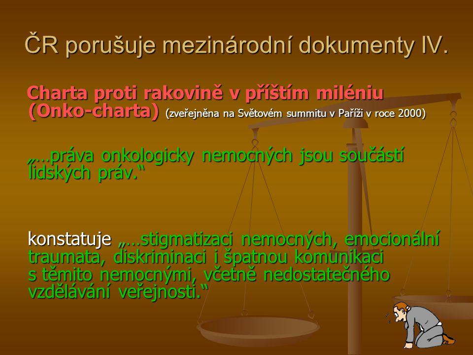 ČR porušuje mezinárodní dokumenty IV. Charta proti rakovině v příštím miléniu (Onko-charta) (zveřejněna na Světovém summitu v Paříži v roce 2000) Char