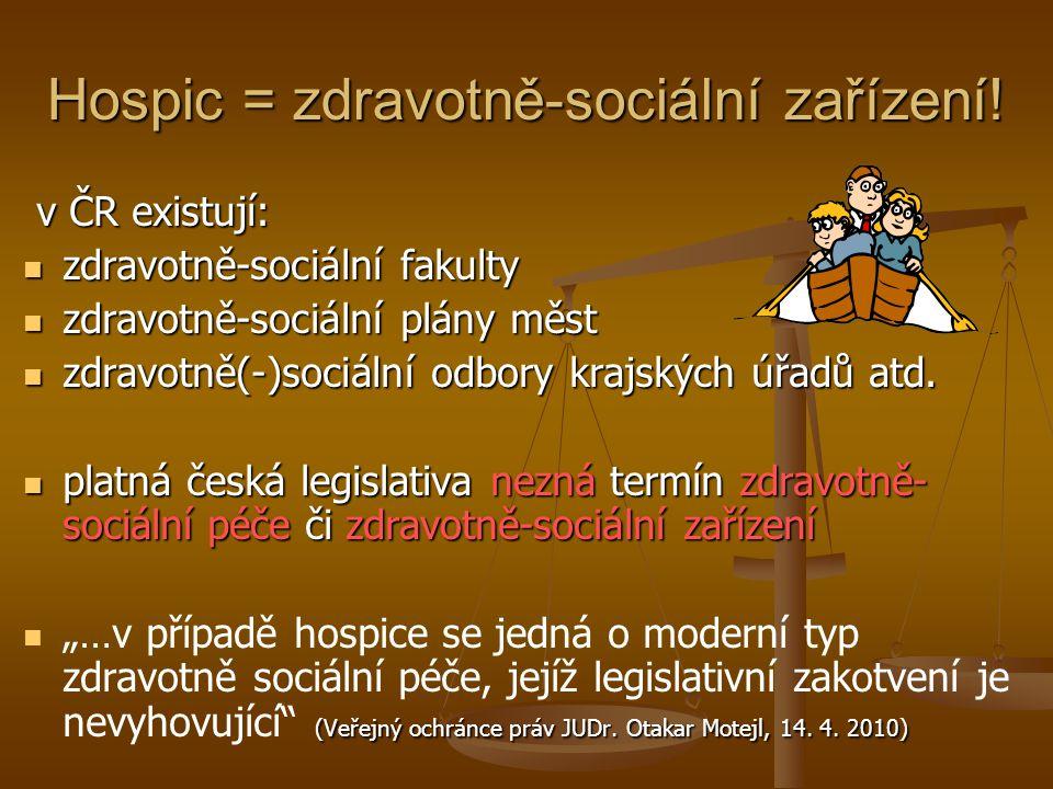Hospic = zdravotně-sociální zařízení! v ČR existují: v ČR existují: zdravotně-sociální fakulty zdravotně-sociální fakulty zdravotně-sociální plány měs
