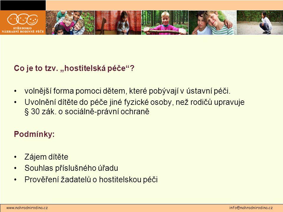 """www.nahradnirodina.cz info@nahradnirodina.cz Co je to tzv. """"hostitelská péče""""? volnější forma pomoci dětem, které pobývají v ústavní péči. Uvolnění dí"""