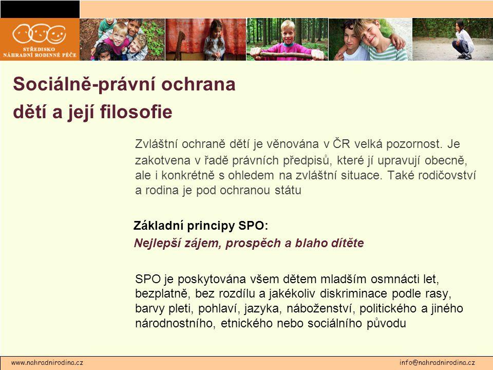 Sociálně-právní ochrana dětí a její filosofie Zvláštní ochraně dětí je věnována v ČR velká pozornost. Je zakotvena v řadě právních předpisů, které jí